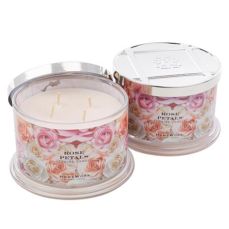 HomeWorx by Harry Slatkin 2-pack 4-Wick Candles - Rose Petals