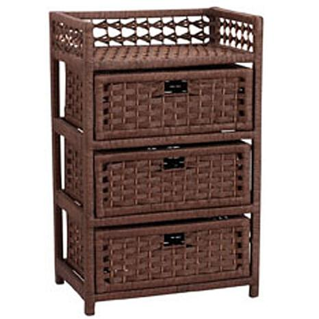 Household Essentials™ Paper Rope 3-Drawer Stained Chest