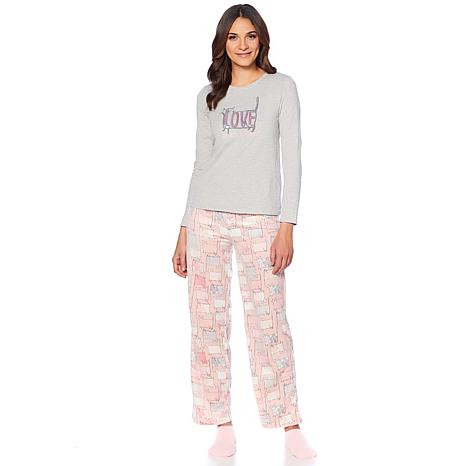 HUE 2pc Whimsical Print Pajama Set with Socks - Missy