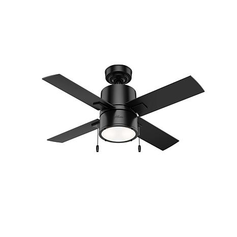 """Hunter 42"""" Beck Matte Black Ceiling Fan with LED Light and Pull Chain"""