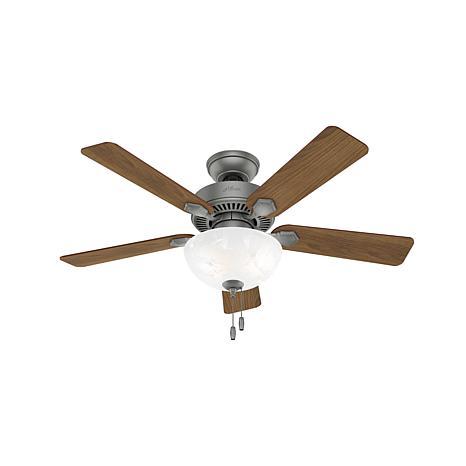 """Hunter 44"""" Swanson Matte Silver Ceiling Fan w/LED Light & Pull Chain"""