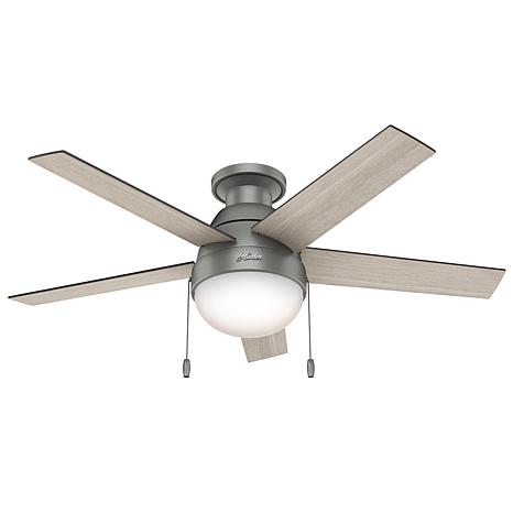 """Hunter 46"""" Anslee  Low Profile Ceiling Fan with Light and Pull Chain"""