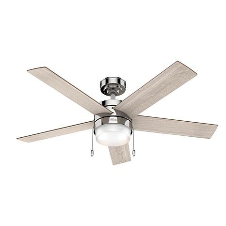 """Hunter 52"""" Claudette Nickel Ceiling Fan w LED Light Kit and Pull Chain"""