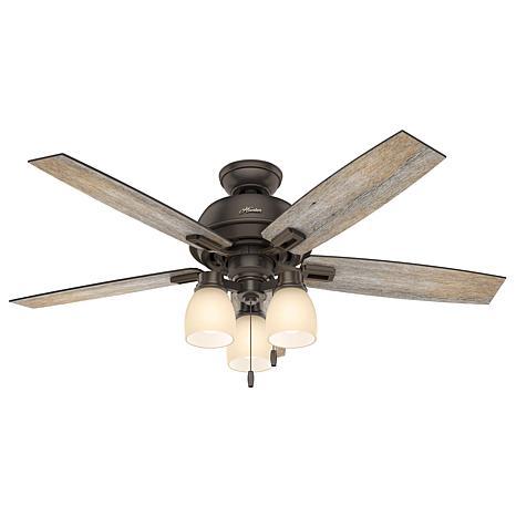 "Hunter 52"" Donegan Onyx Bengal Ceiling Fan w Light Kit & Pull Chain"