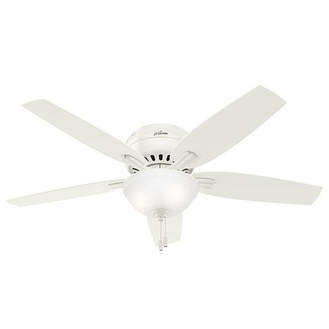 "Hunter 52"" Newsome White Low Profile Ceiling Fan w Light Kit & Chain"