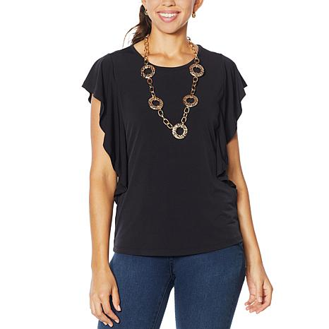 IMAN Boho Chic Flutter Sleeve Top with Necklace