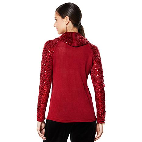exclusive! IMAN Global Chic Dressed & Ready Sequin Cowl-Neck Top