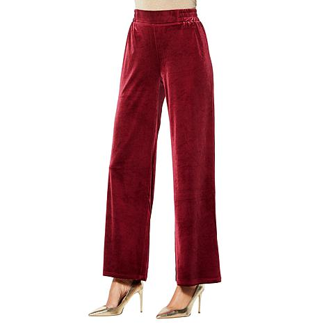 IMAN Global Chic Dressed & Ready Velvet Pull-on Palazzo Pant