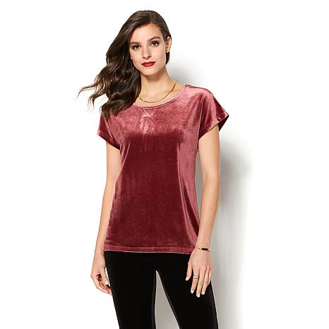IMAN Global Chic Luxe Velvet Cap-Sleeve Top