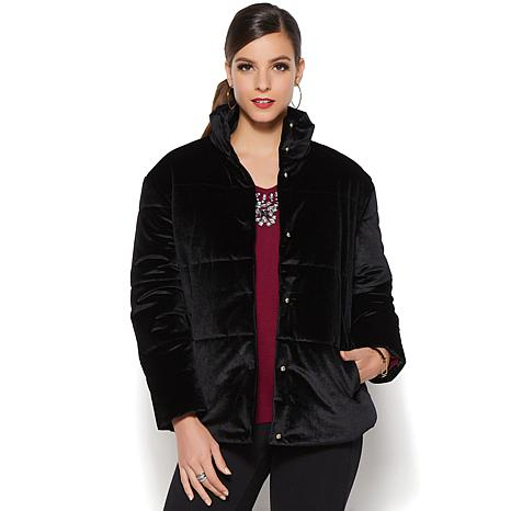 ab87df8ac IMAN Platinum Wrap Yourself in Luxury Velvet Puffer Coat