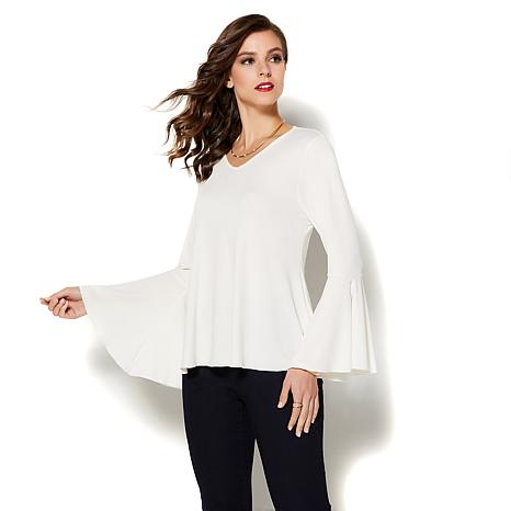 IMAN Runway Chic Luxurious Bell-Sleeve Top - Basic