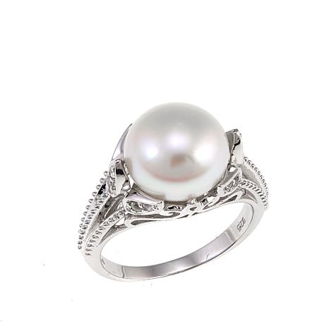 Imperial Pearls 10.5-11mm Cultured  Pearl and White Topaz Floral Ring