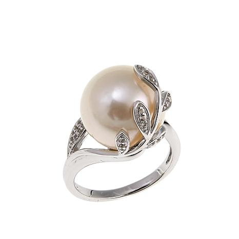 Imperial Pearls 13-14mm Cultured  Pearl and White Topaz Leaf Ring