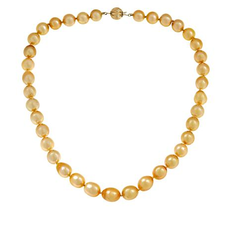 """Imperial Pearls 18"""" 10-13mm Golden Cultured South Sea Pearl Necklace"""