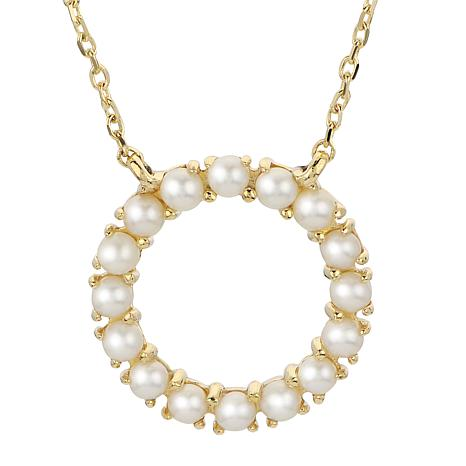 """Imperial Pearls 18"""" 14K Cultured Seed Pearl Circle Necklace"""