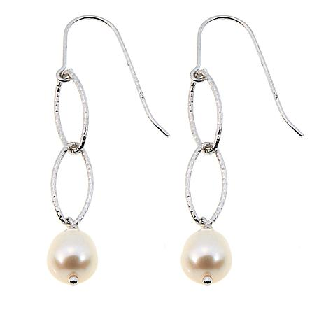 Imperial Pearls 8-9mm Cultured Pearl Oval Link Drop Earrings
