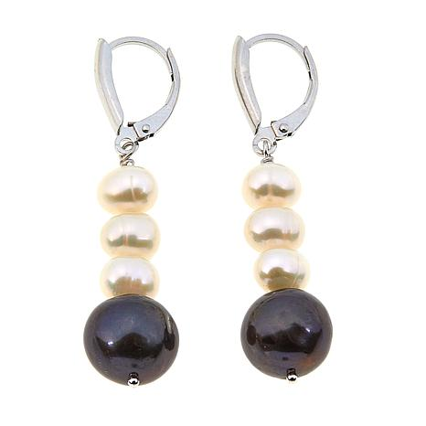 Imperial Pearls Peacock and White Cultured Pearl Linear Earrings