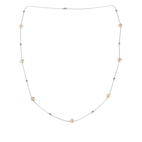 "Imperial Pearls White Cultured Pearl and White Topaz 36"" Necklace"