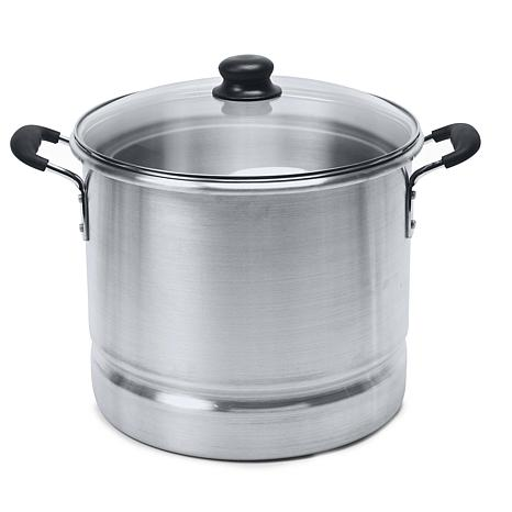 IMUSA 24-Quart Tamale and Seafood Steamer with Glass Lid - Silver