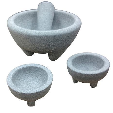 IMUSA 4-Piece Set - Granite Molcajete for Guacamole - Gray