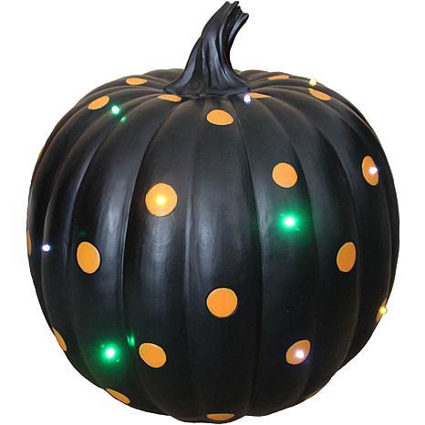 new! Indoor/Outdoor 15 5-In  Lighted Designer Pumpkin Black with Orange  Polka Dots