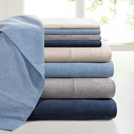 INK+IVY Heathered Cotton Jersey Blue Sheet Set - Full
