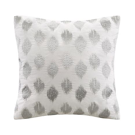 INK+IVY Nadia Dot Embroidered Square Pillow - Silver