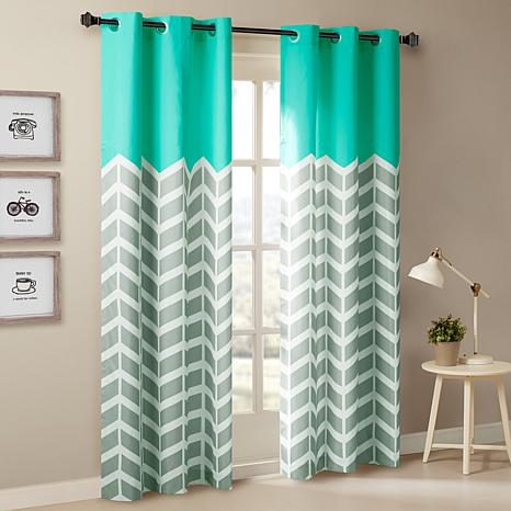 "Intelligent Design Alex Chevron Grommet Curtain Pair-Aqua-42""x63"""