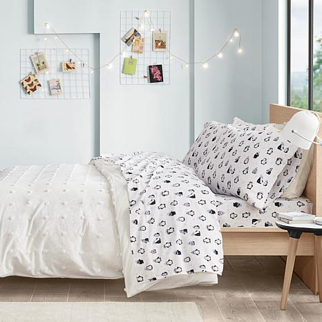 Intelligent Design Cotton Flannel Twin Xl Sheet Set Blue Penguins 9699838 Hsn