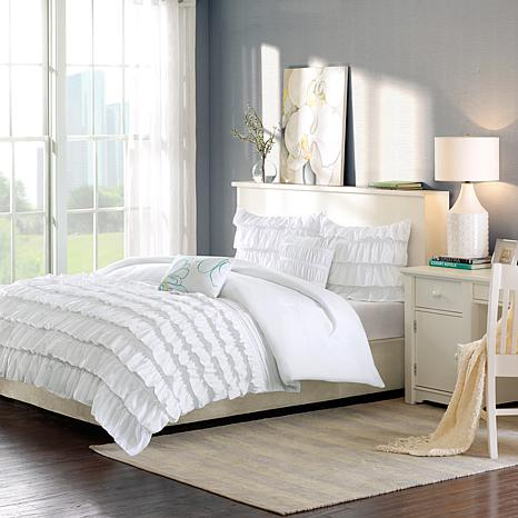 Intelligent Design Waterfall Comforter, White Bedding For Twin Bed