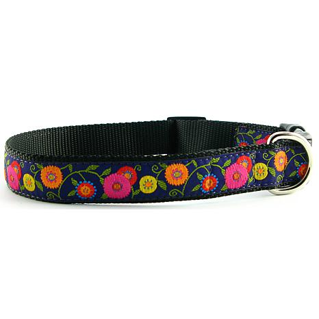 Isabella Cane Dog Collar - Purple Flowers S