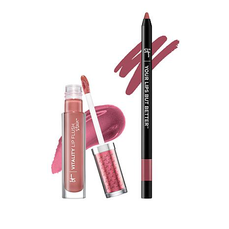 IT Cosmetics Mauve/Rose Perfect Lip Gloss Stain and Liner Stain Duo