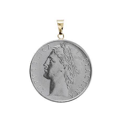 Italian Gold 100 Lira Coin 14K  Gold Pendant