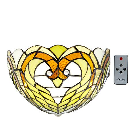 It s Exciting Lighting Battery Powered Wall Sconce - Stained Glass Swan - 8423328 HSN