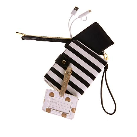 Jade & Deer 4-piece Travel Charging Set with Wristlet Bag - Stripe