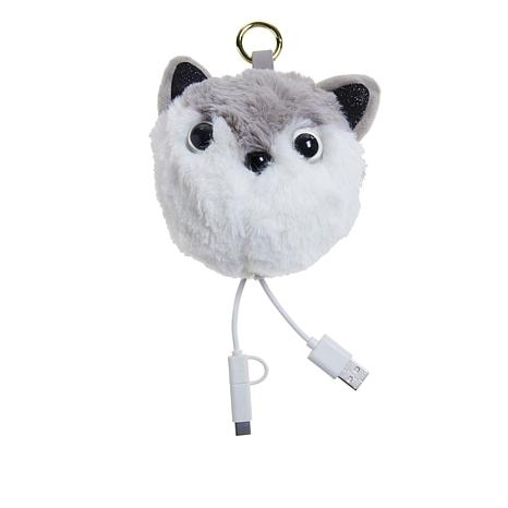 Jade & Deer Gray Fox Faux Fur Portable Charger