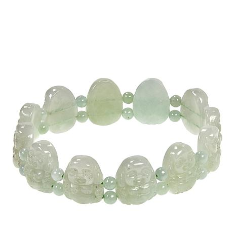 Jade of Yesteryear Carved Green Jade Stretch Bracelet