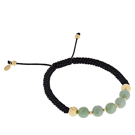 Jade of Yesteryear Goldtone Green Jade Macrame Bracelet