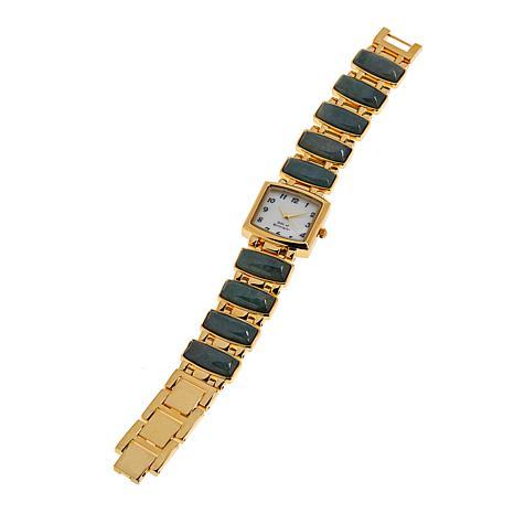 Jade of Yesteryear Goldtone Nephrite Jade Bracelet Watch