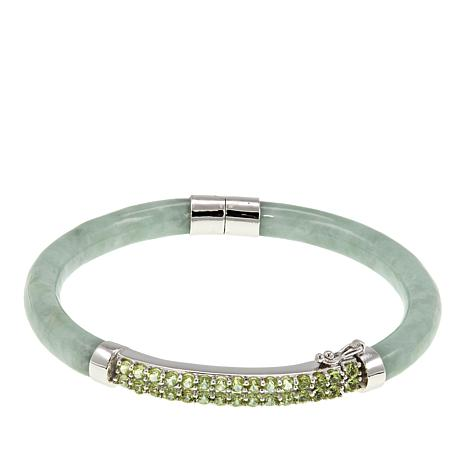Jade of Yesteryear Green Jade and Peridot Hinged Bangle  Bracelet