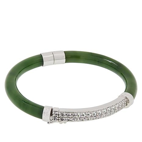 Jade of Yesteryear Jade and Semi-Precious Gemstone Bangle Bracelet