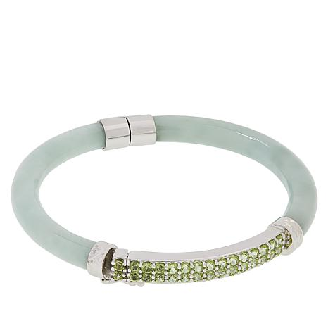 31165cb213876 Jade of Yesteryear Jade and Semi-Precious Gemstone Bangle Bracelet