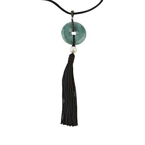 Jade of Yesteryear Jade, Pearl & Spinel Tassel Pendant with Silk Cord