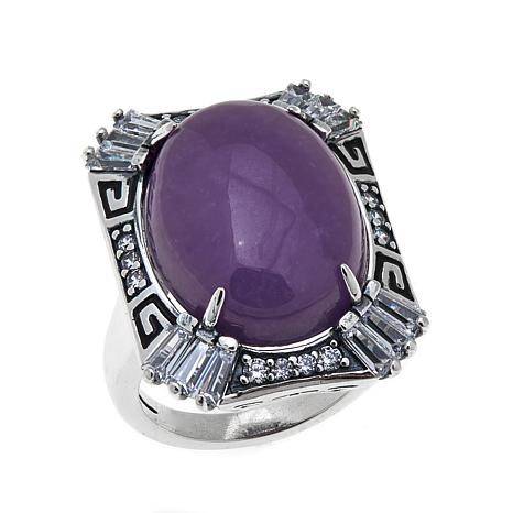 "Jade of Yesteryear Purple Jade and CZ ""Art Deco"" Ring"