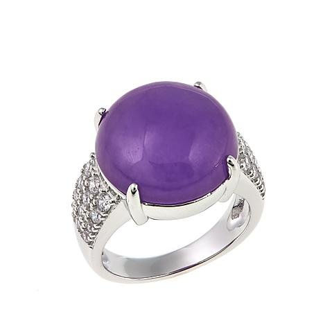 Jade of Yesteryear Round Lavender Jade and CZ Sterling Silver Ring
