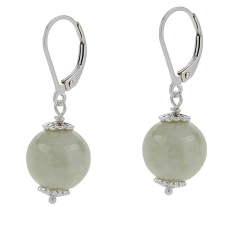 Jade of Yesteryear Sterling Silver Jadeite Jade Bead Drop Earrings