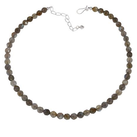 """Jay King 18"""" Sterling Silver Labradorite Faceted Bead Necklace"""