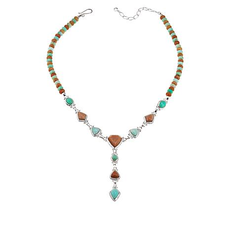 """Jay King 18"""" Sterling Silver Peach Stone and Green Opal Necklace"""