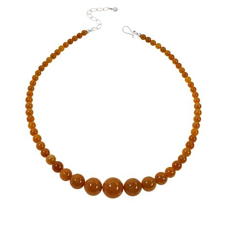 "Jay King 20"" Sterling Silver Butterscotch Amber Beaded Necklace"
