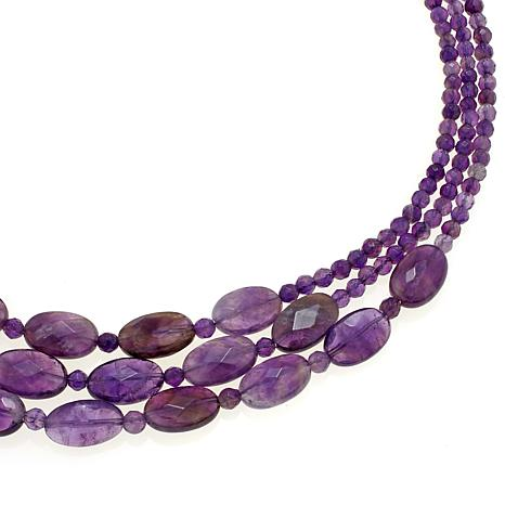 king 3 strand amethyst bead 20 quot sterling silver